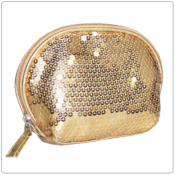 Gold wholesale makeup bag with sequin decoration