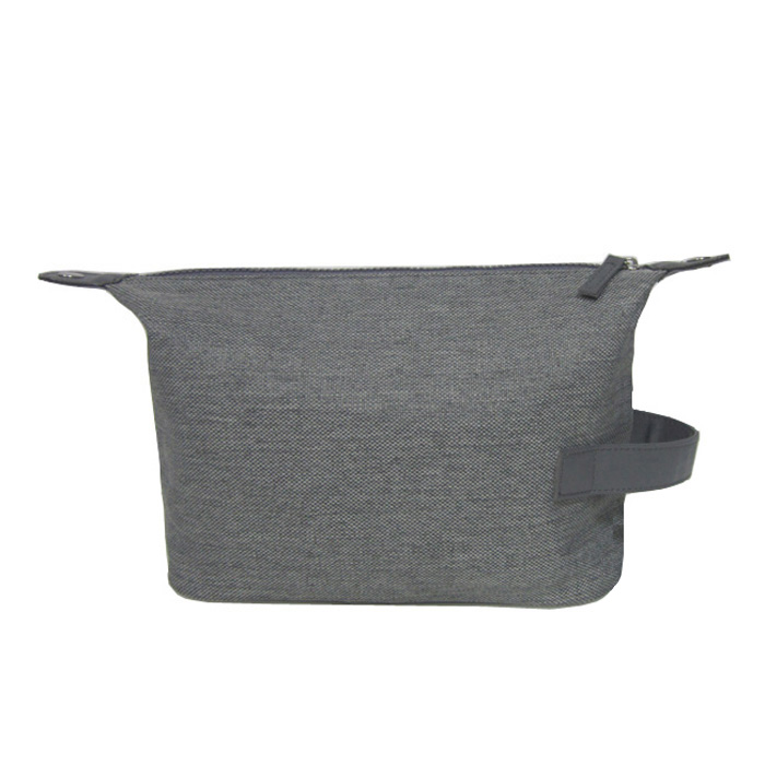 grey cotton linen men travel toiletry bag