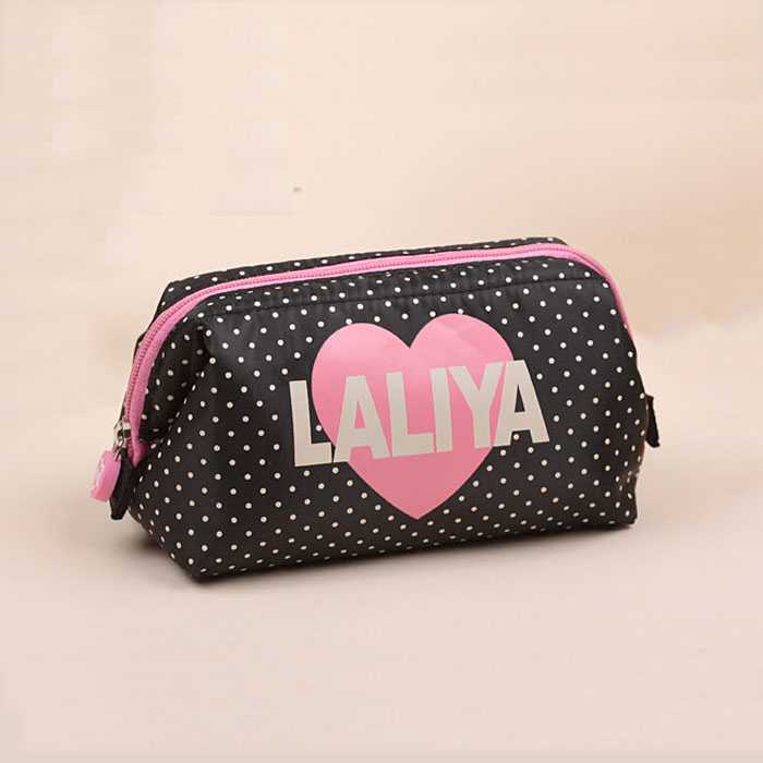 lolita mini dots print and heart print cosmetic handbag