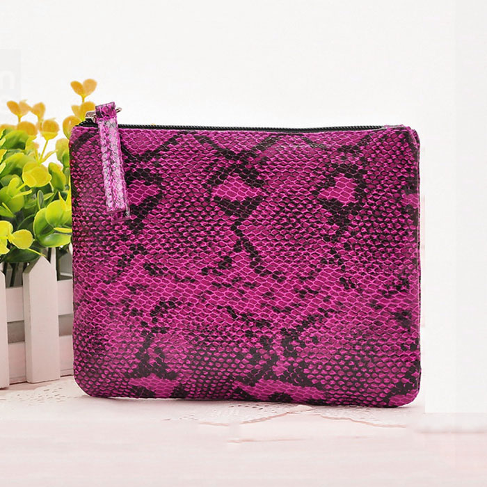 snake skin pattern flat leather cheap makeup bags bulk
