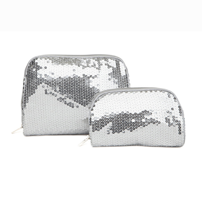 Cosmetic bag set sequins silver 1 (1)