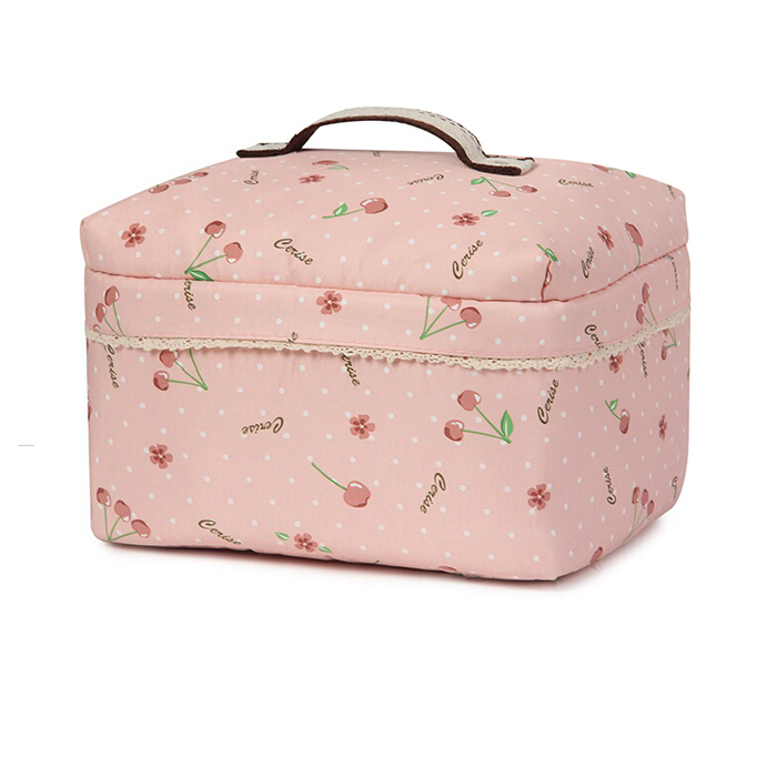 trendy pretty floral print girl makeup bag