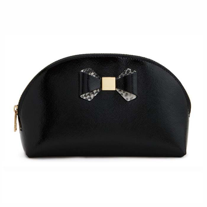 bowknot trim makeup bag with dome shape