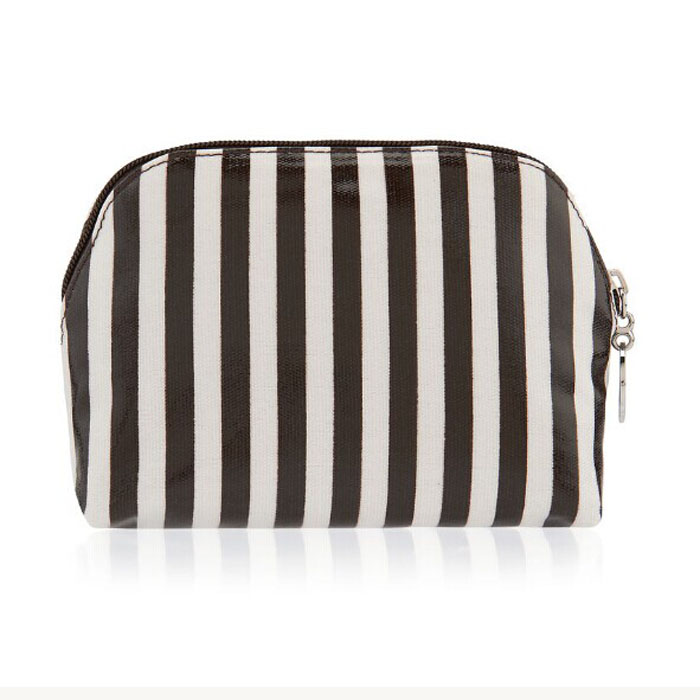 black white stripe dome makeup bag for travel