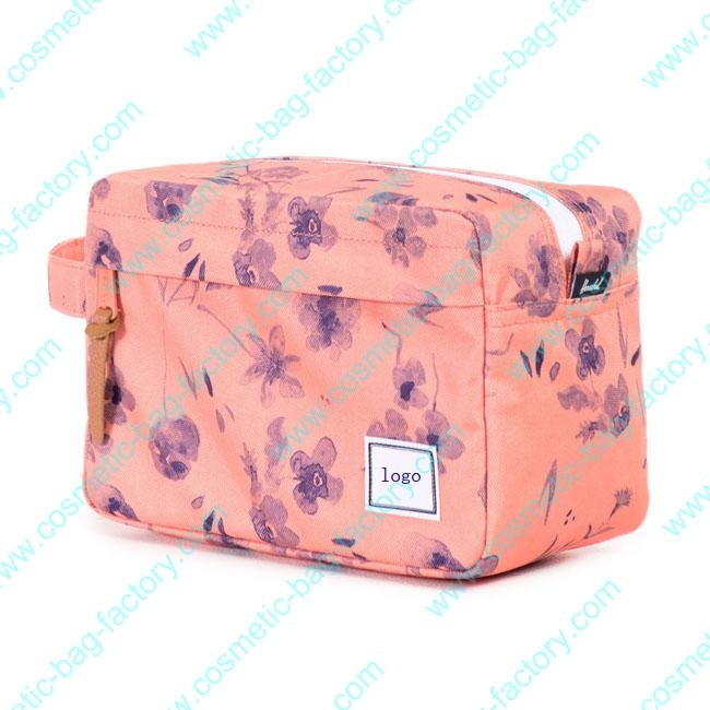 side handle flower floral makeup cosmetic bag