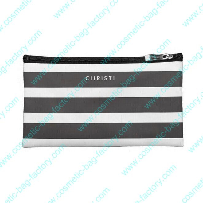 strip pattern pu cosmetic case with flat design