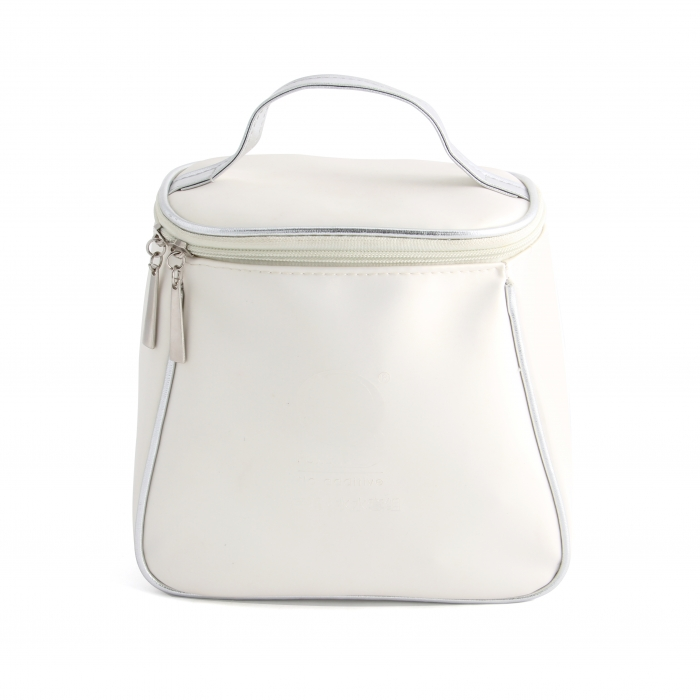 Pure white leather cosmetic bag wholesale