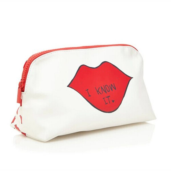 New design cosmetic bag with lip printed for women
