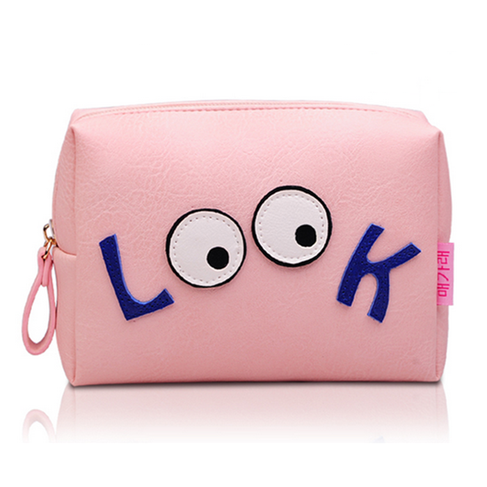 Hot sale pink color pu cosmetic bags in bulk