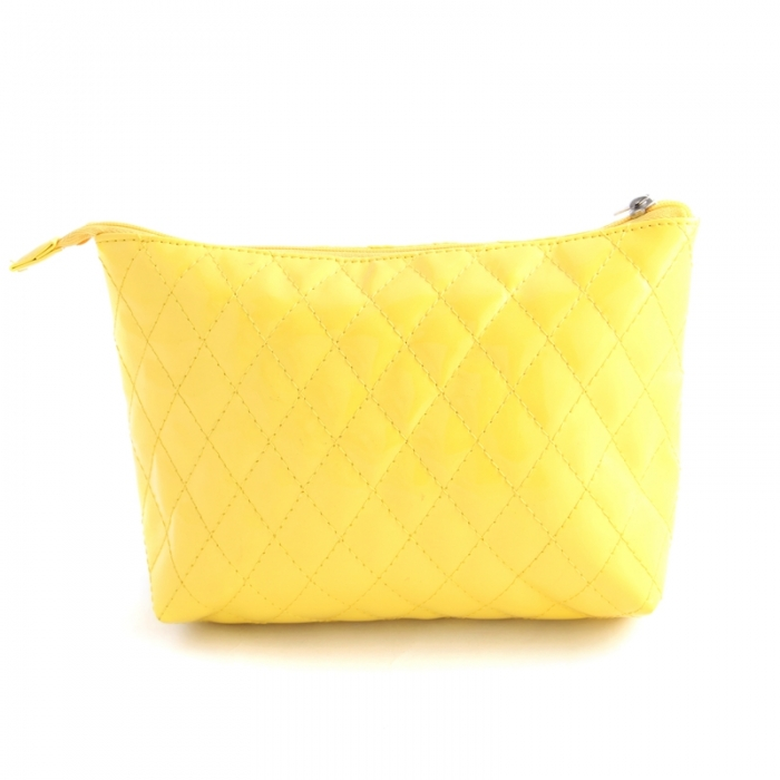 promotion shiny quilted pu cosmetic bag for travel