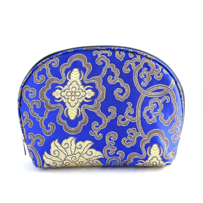 luxury jacquard material makeup pouch manufacturer