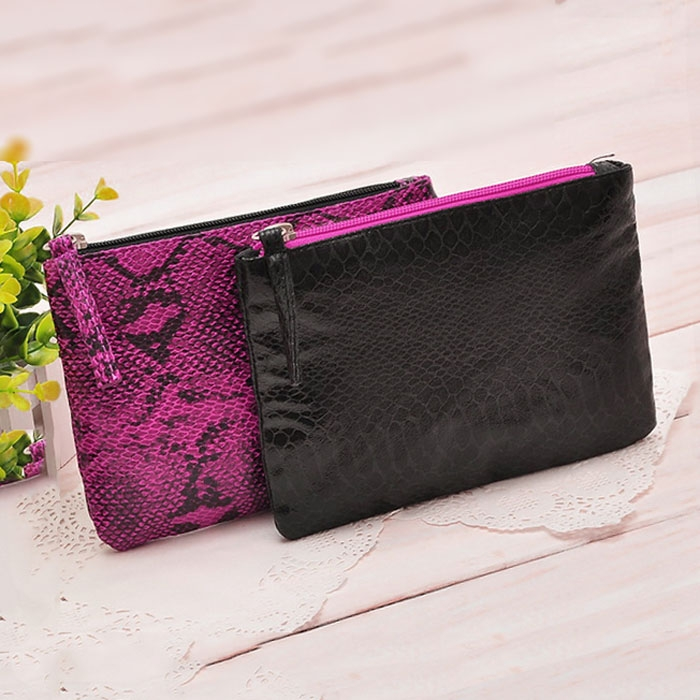 snake skin pattern flat leather cheap makeup bags