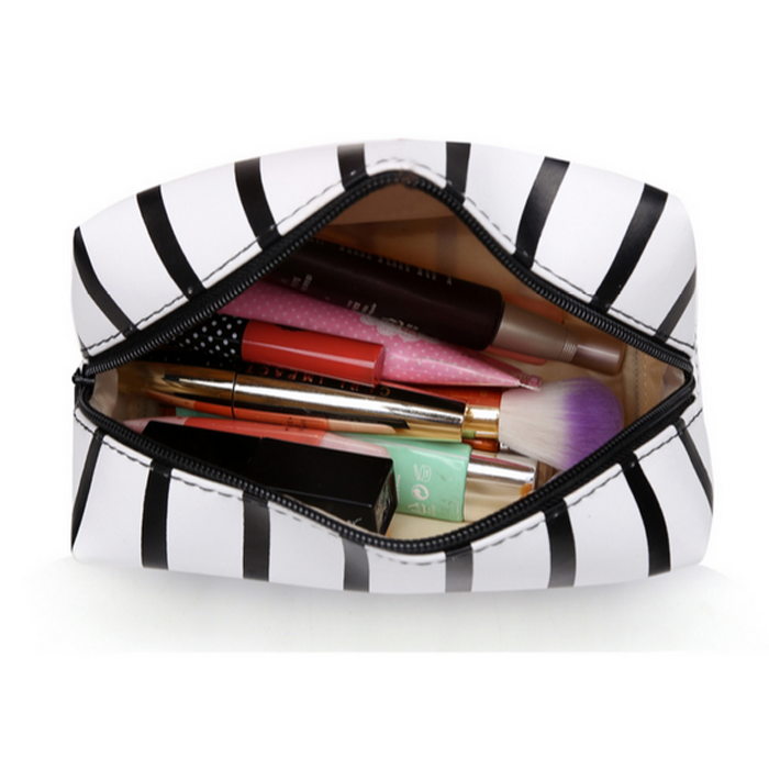 PU stripe makeup bag for sale