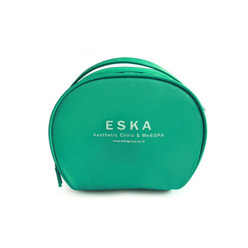 Custom silk logo green round nylon cosmetic bag FY-A6-018