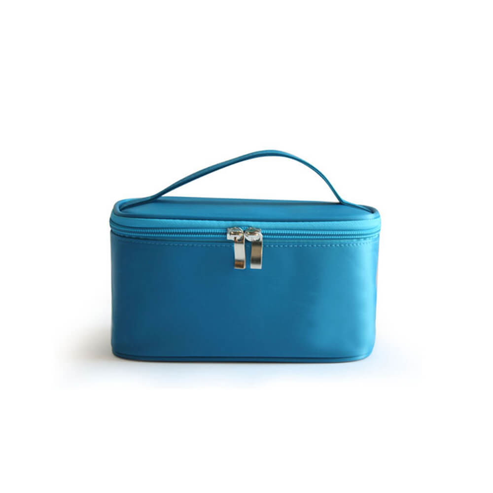 Factory custom blue square nylon bathroom travel makeup case with handle FY-A6-022