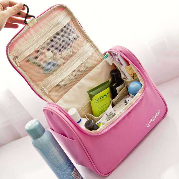 pink color hanging makeup cosmetic case for lady