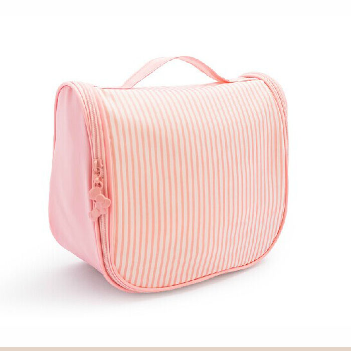 pink stripe print hanging makeup cosmetic pouch
