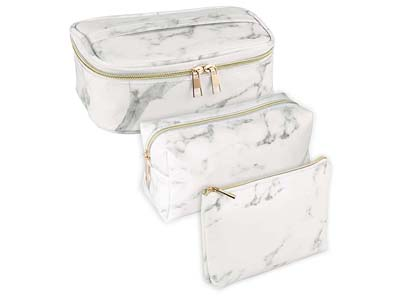 PU Leather marble makeup bag
